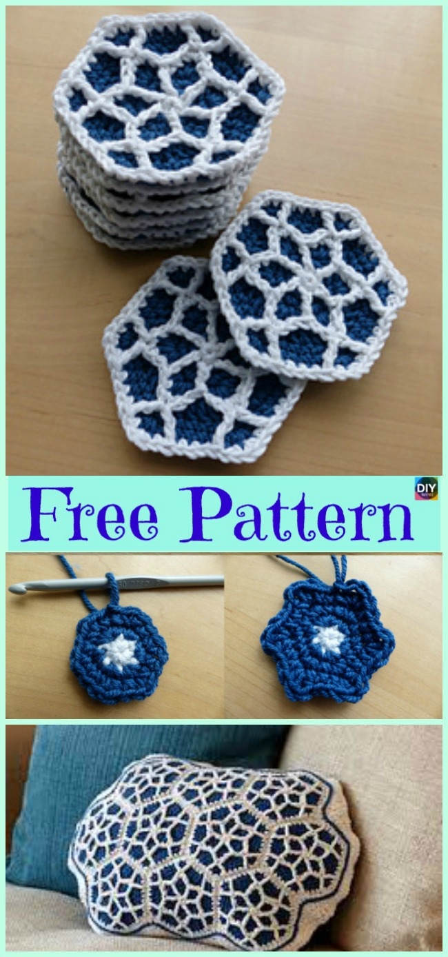 diy4ever- 10 Beautiful Crochet Hexagon Free Patterns