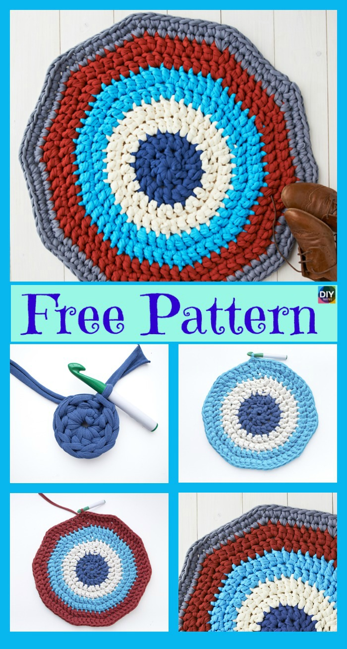 diy4ever-10 Crochet Rug from Shirts Free Patterns