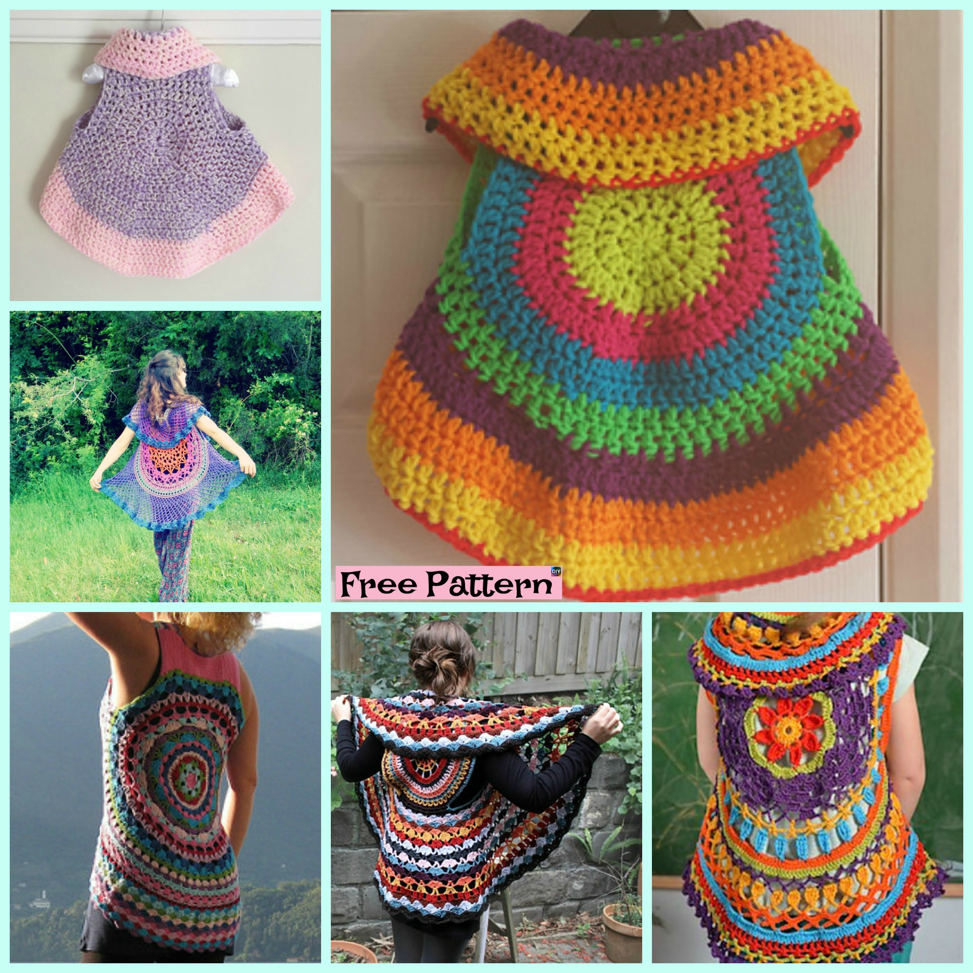 diy4ever- 10 Cutest Crochet Circular Vest Free Patterns