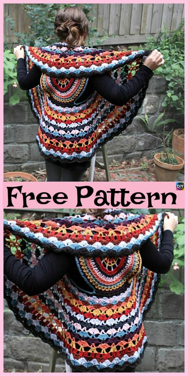 diy4ever- 10 Cutest Crochet Circular Vest Free Patterns