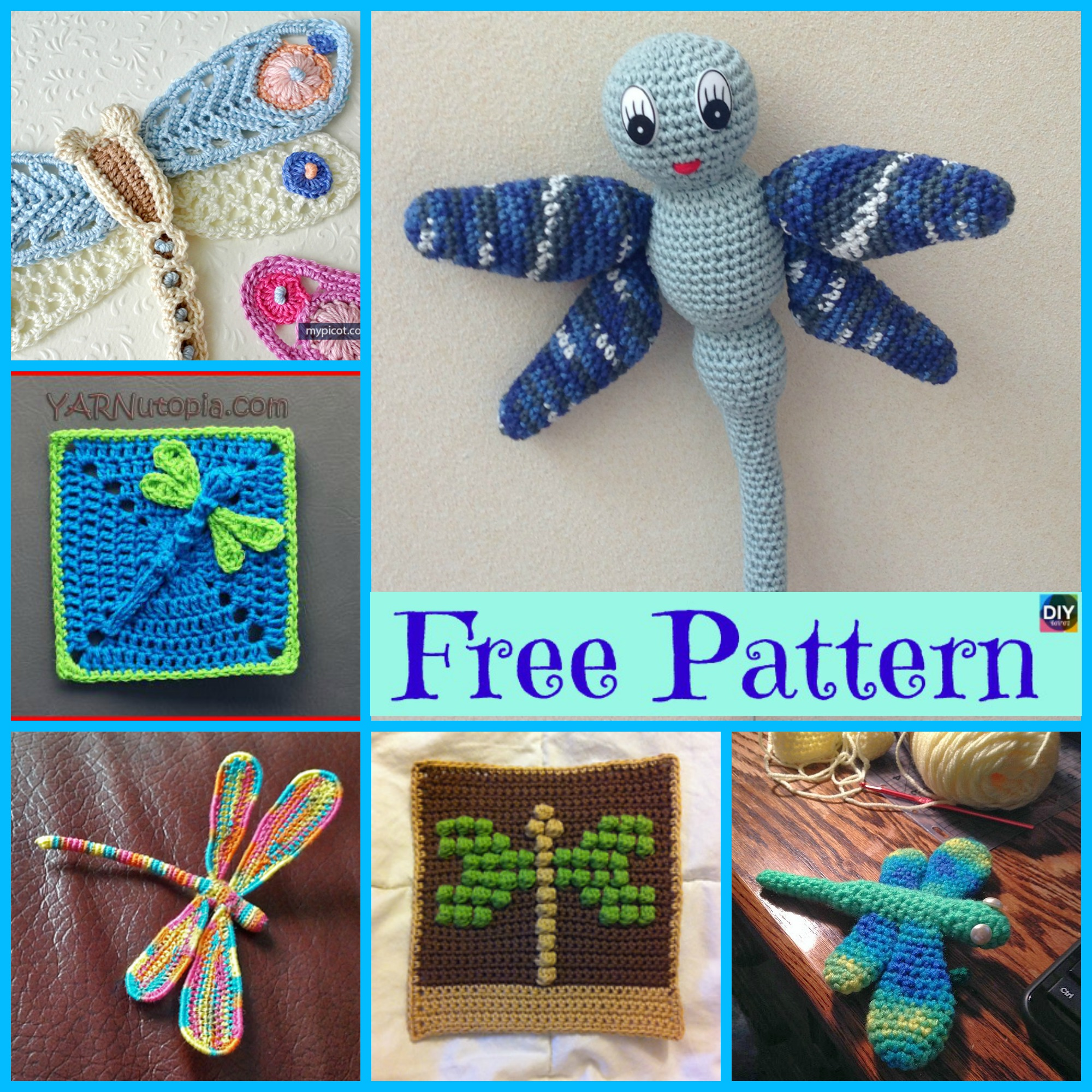 diy4ever- 6 Beautiful Crochet Dragonfly Free Patterns