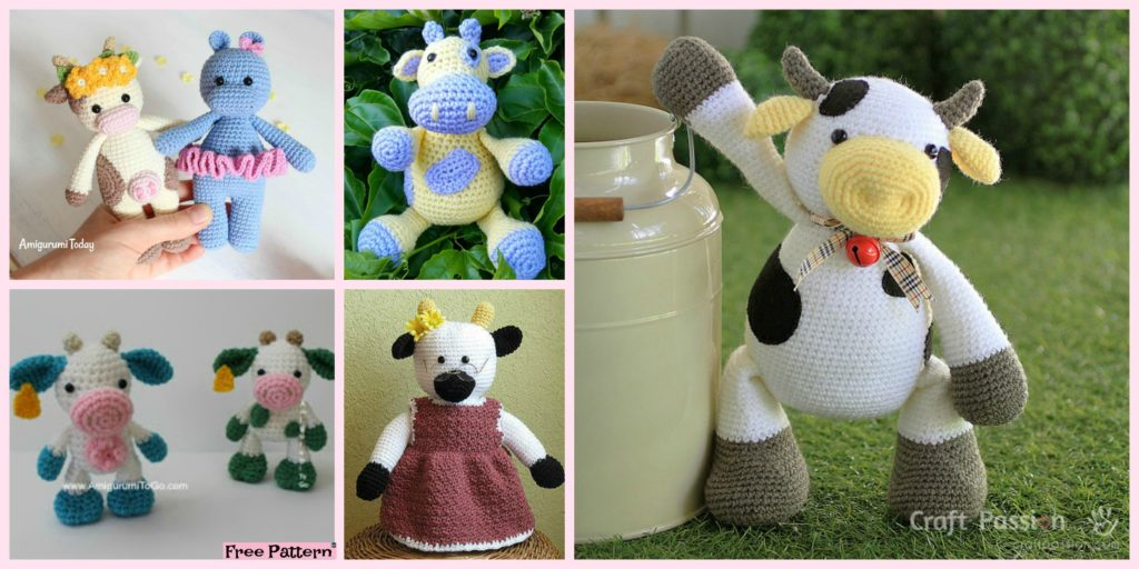 6 Super Cute Crocheted Amigurumi Cow Free Patterns Diy 4 Ever
