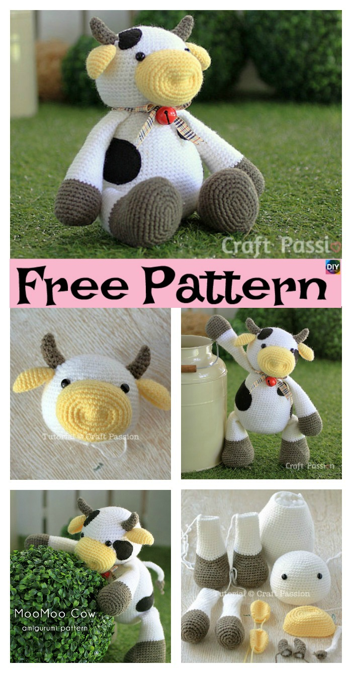 diy4ever-6 Super Cute Crocheted Amigurumi Cow Free Patterns