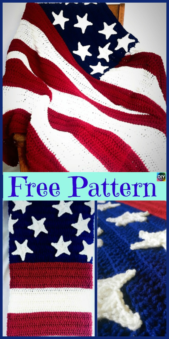 diy4ever-6 Unique Crochet American Afghan Free Patterns