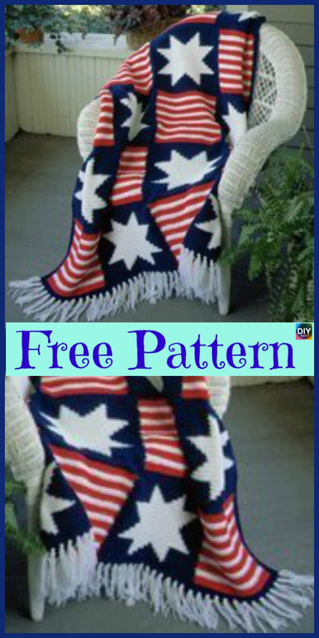6 Unique Crochet American Afghan Free Patterns - DIY 4 EVER