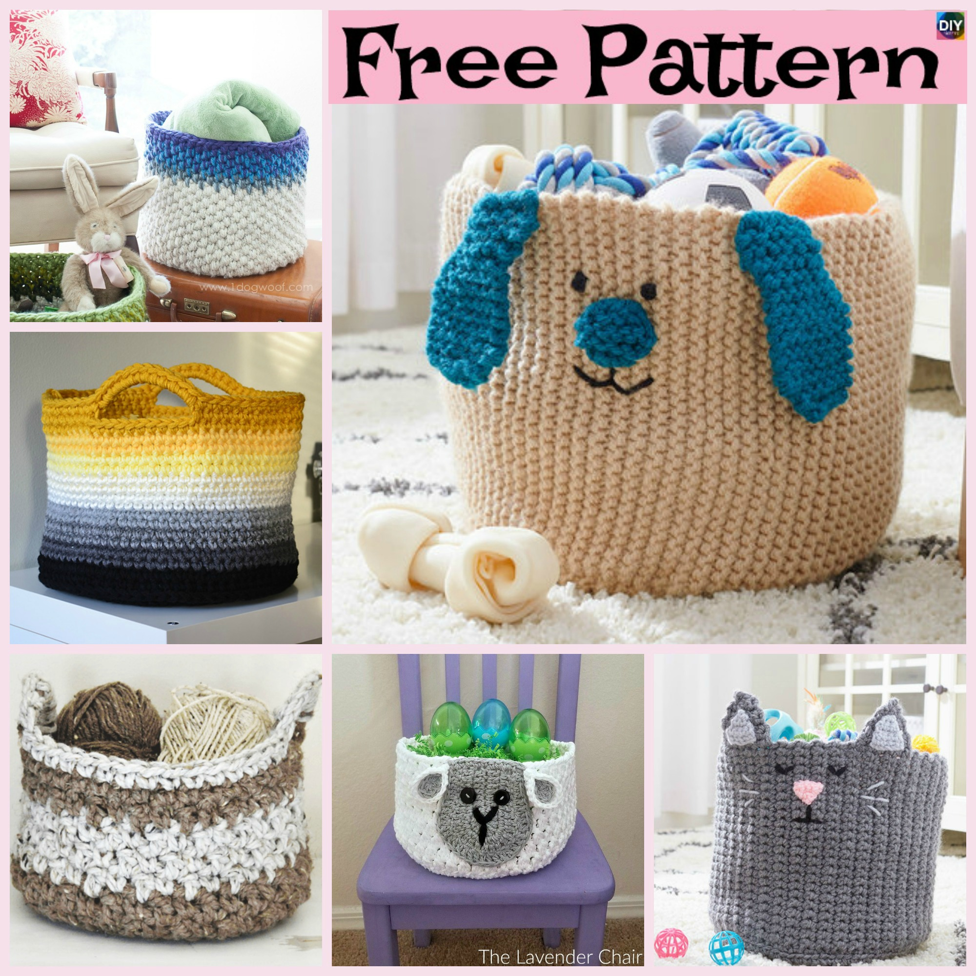 diy4ever- 8 Most Adorable Crochet Basket Free Patterns