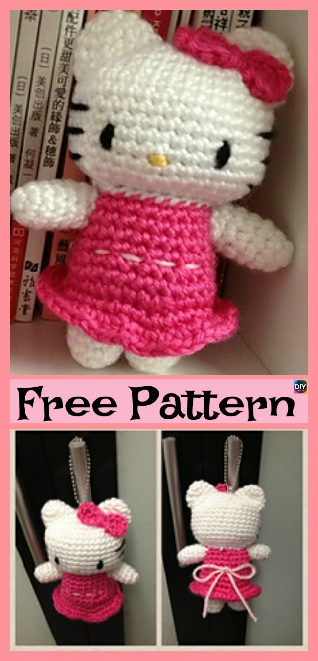 diy4ever- Adorable Crochet Hello Kitty - Free Pattern