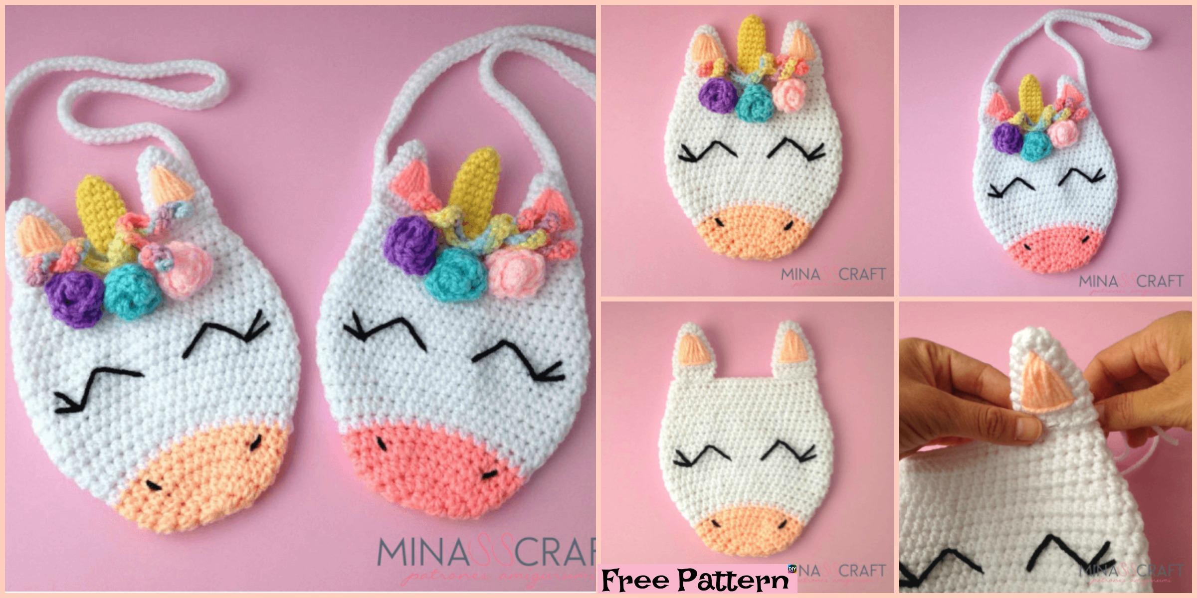 Adorable Crochet Unicorn Purse - Free Pattern - DIY 4 EVER