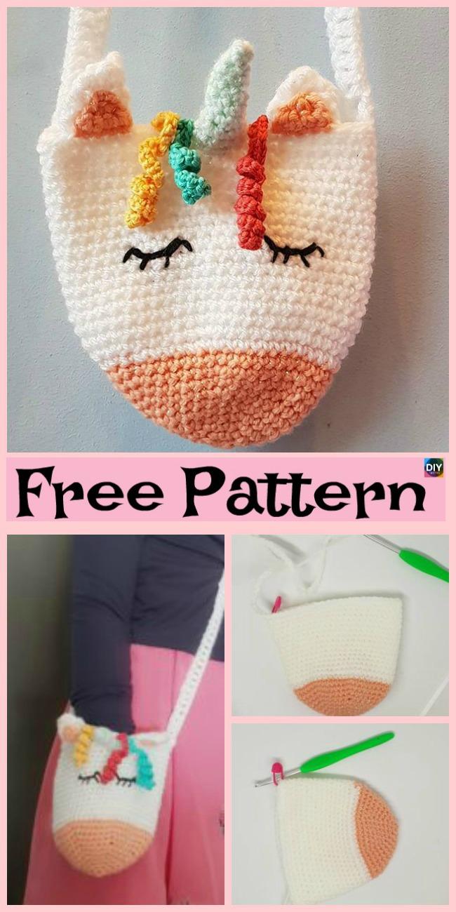 diy4ever- Adorable Crochet Unicorn Purse  -  Free Pattern