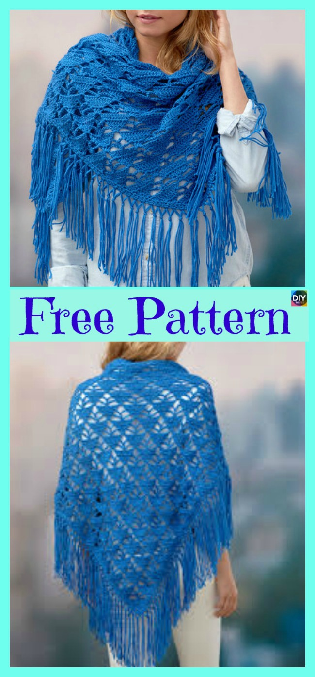 diy4ever-Beautiful Crochet Boho Shawl - Free Pattern