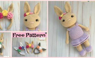 diy4ever-Beautiful Crochet Bunny Headband - Free Pattern