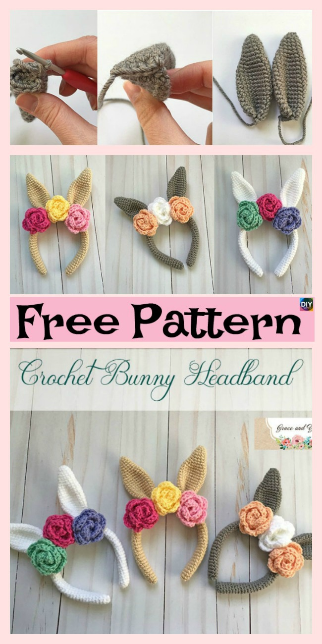 diy4ever-Beautiful Crochet Bunny Headband - Free Pattern