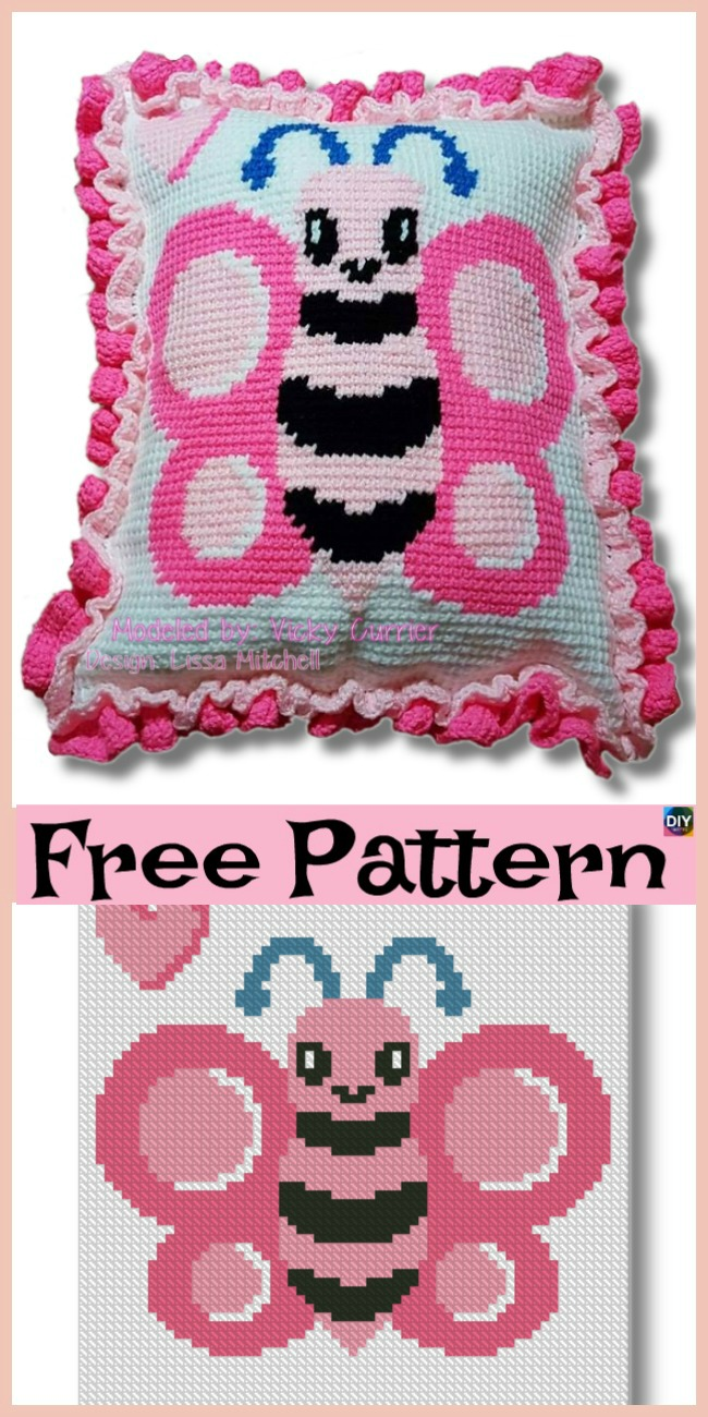diy4ever-Beautiful Crochet Butterfly Pillow - Free Pattern