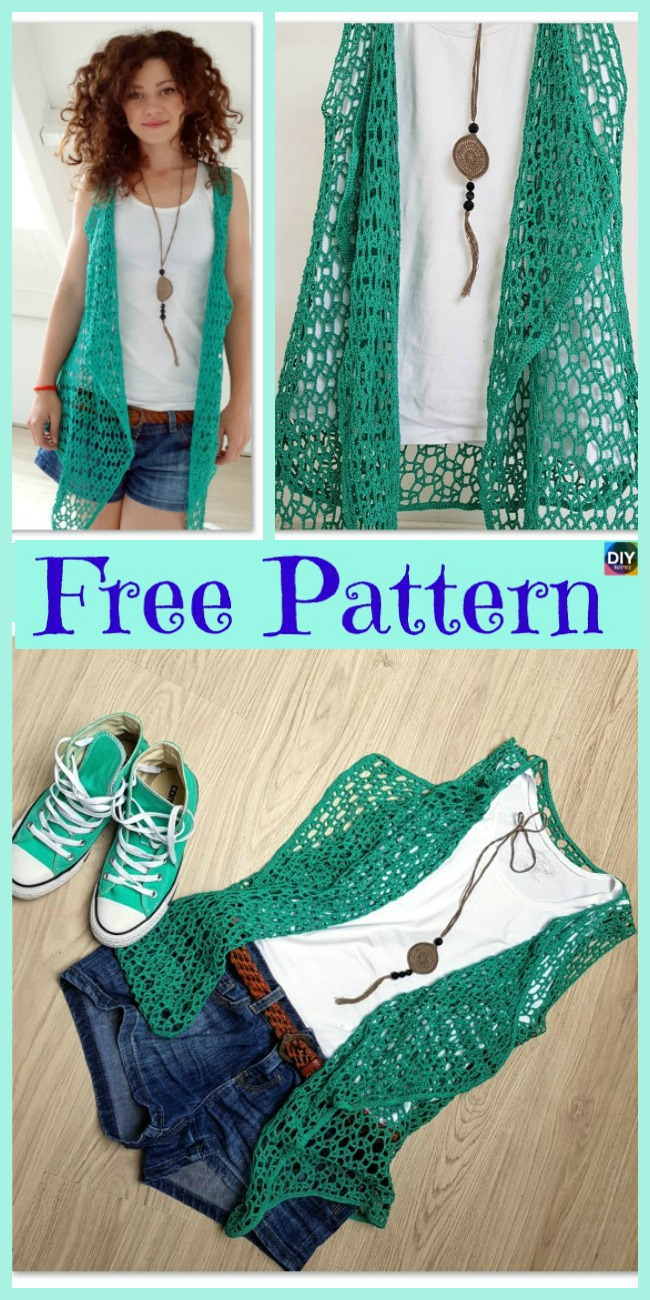 diy4ever-Beautiful Crocheted Summer Vest - Free Pattern