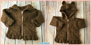 diy4ever-Crochet Baby Bear Cardigan – Free Patterns