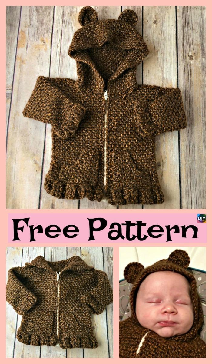 diy4ever-Crochet Baby Bear Cardigan – Free Patterns P