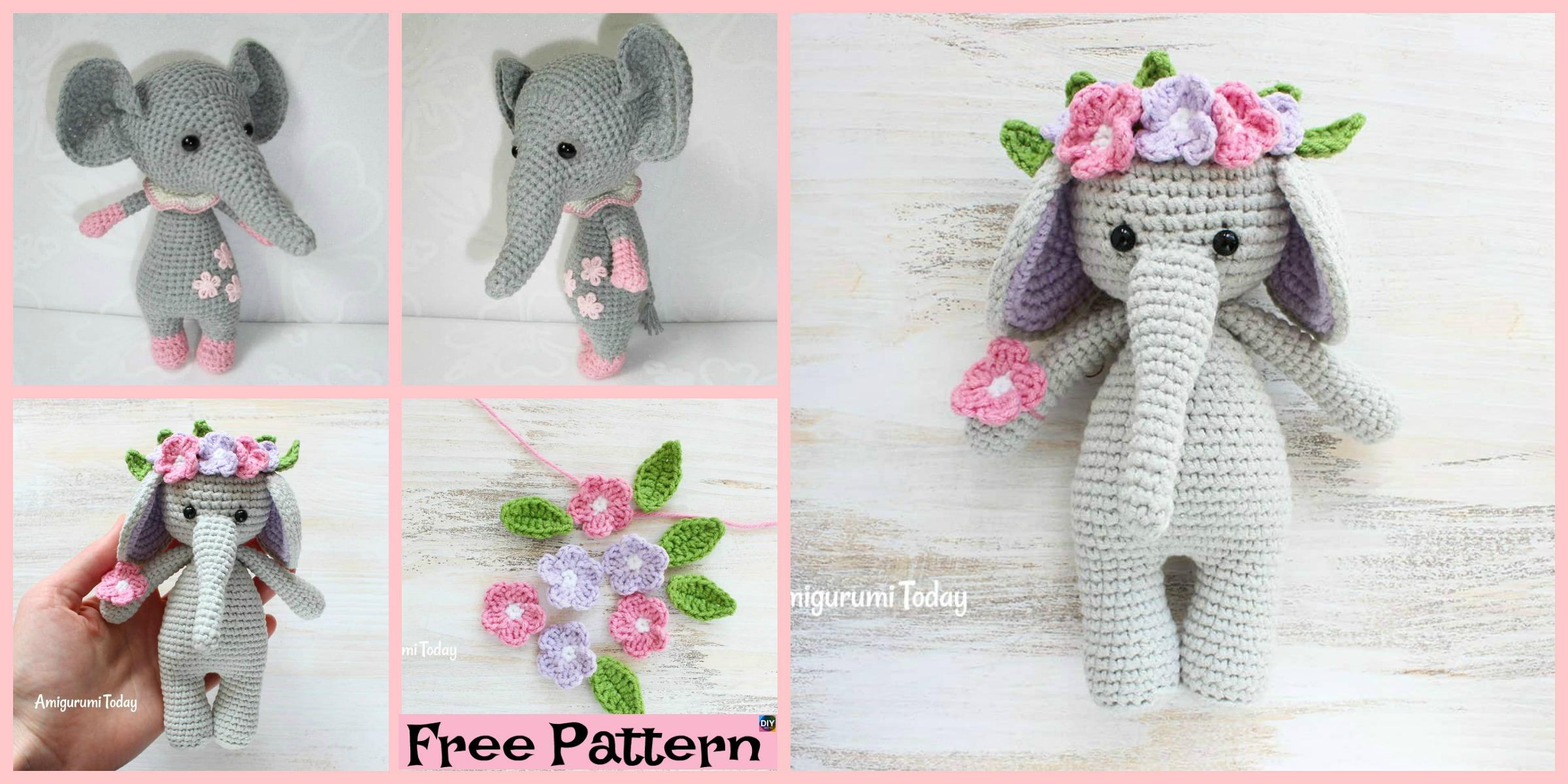Crochet Baby Elephant Amigurumi - Free Patterns - DIY 4 EVER