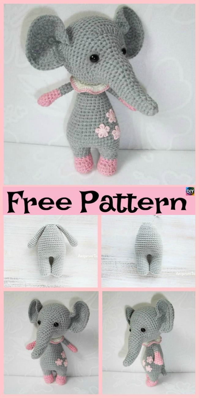 diy4ever-Crochet Baby Elephant Amigurumi - Free Patterns