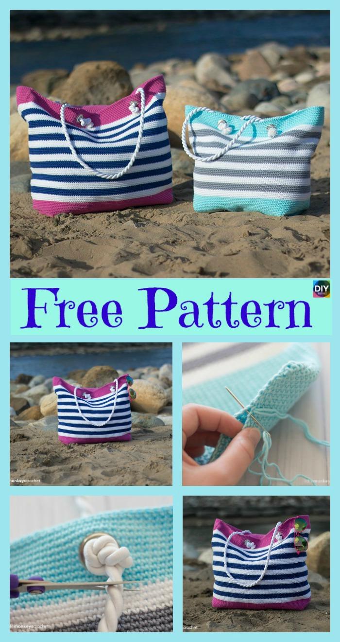 diy4ever-Crochet Classic Beach Bag - Free Pattern