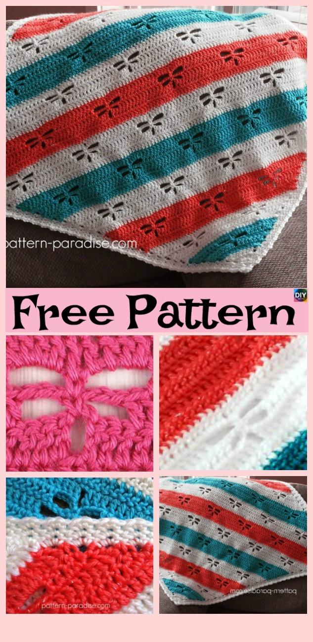 diy4ever- Crochet Dragonfly Stitch Blanket - Free Patterns