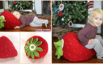 diy4ever- Crochet Giant Strawberry Pillow - Free Pattern