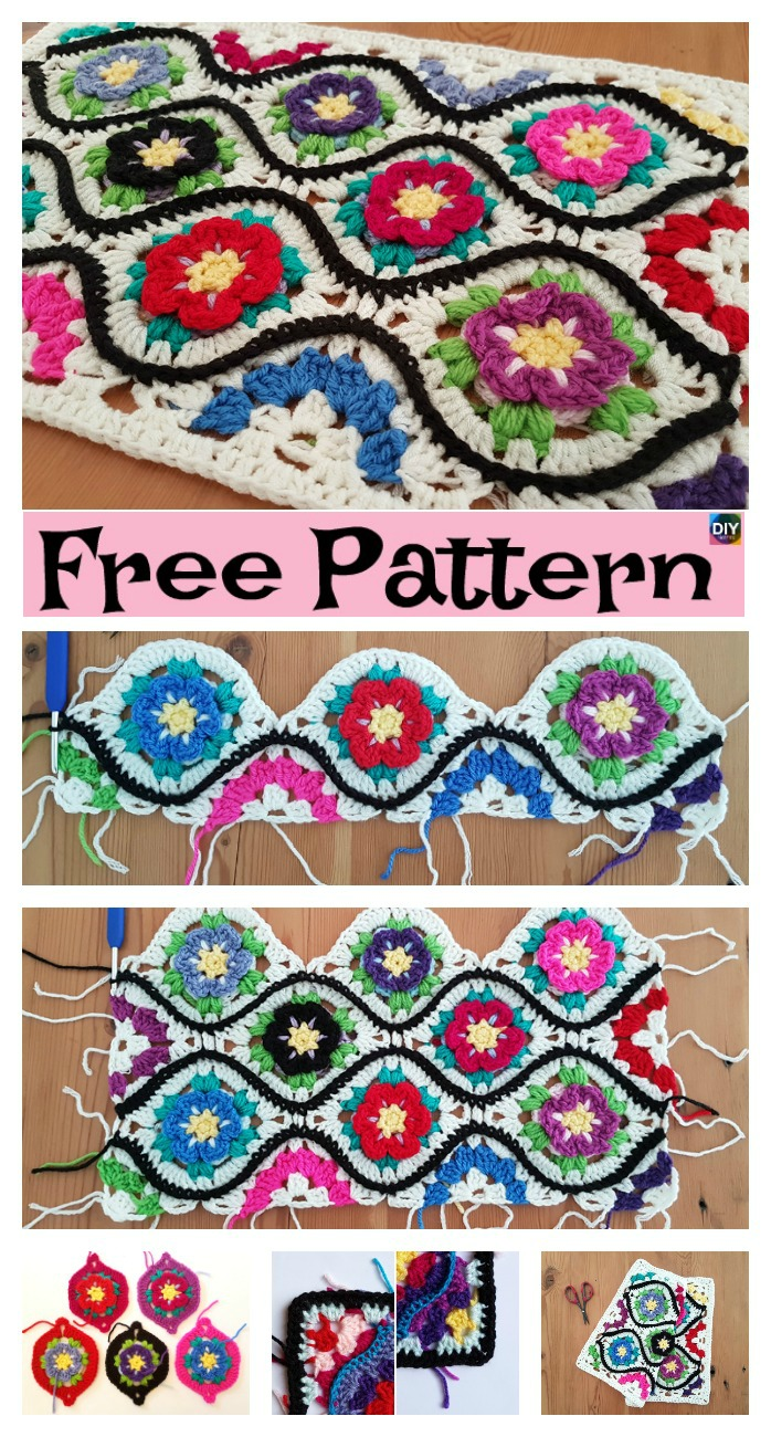 diy4ever-Crochet Moroccan Garden Afghan - Free Pattern
