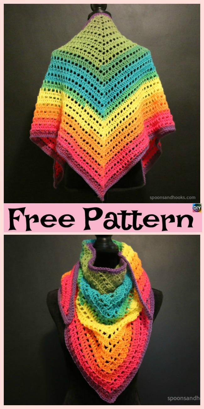 diy4ever- Crochet Rainbow Triangle Scarf - Free Pattern
