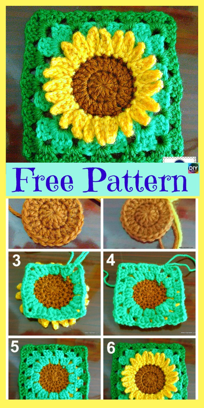 diy4ever-Crochet Sunflower Granny Square - Free Pattern