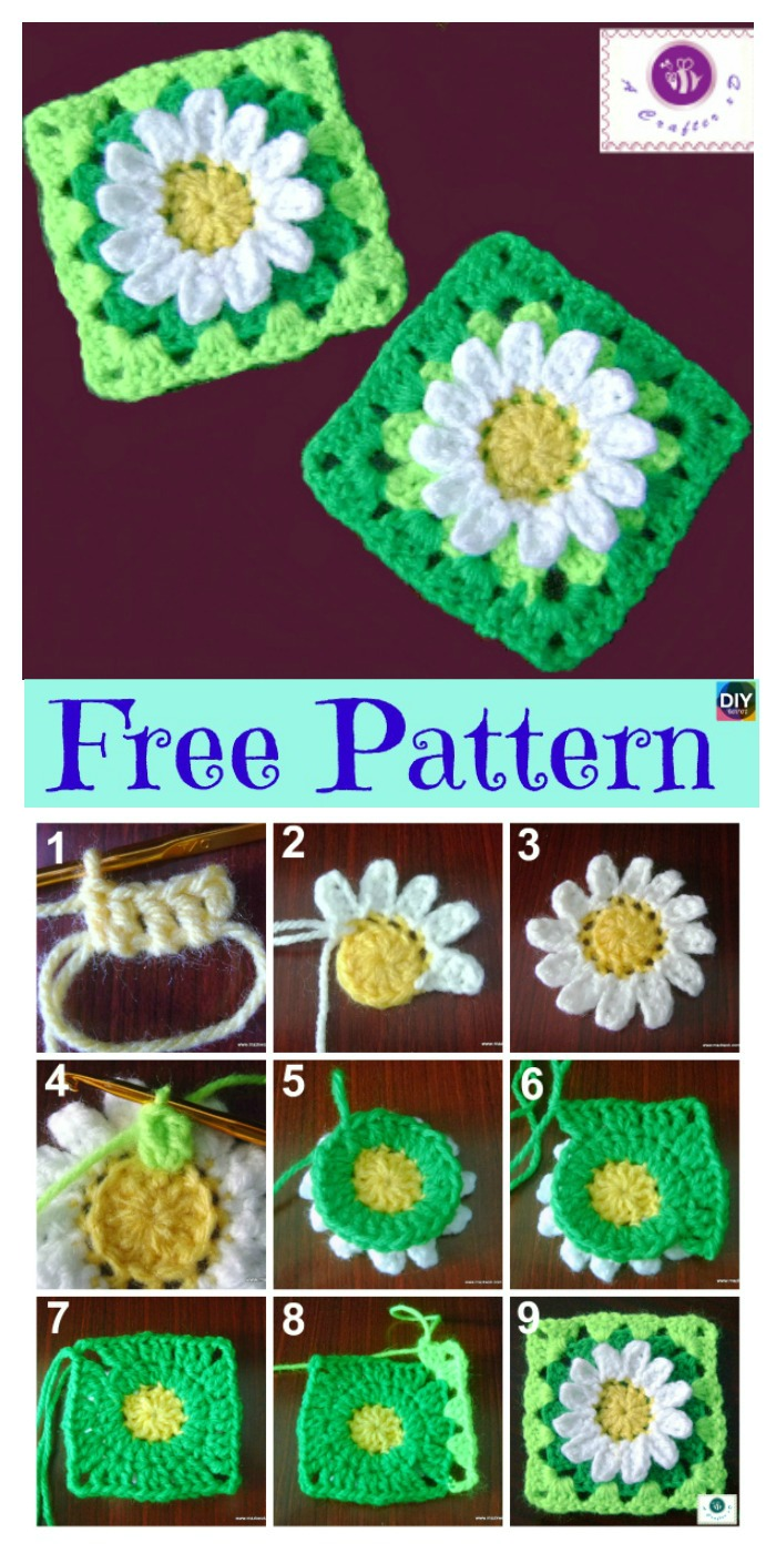 diy4ever-Crochet Sunflower Granny Square - Free Pattern P