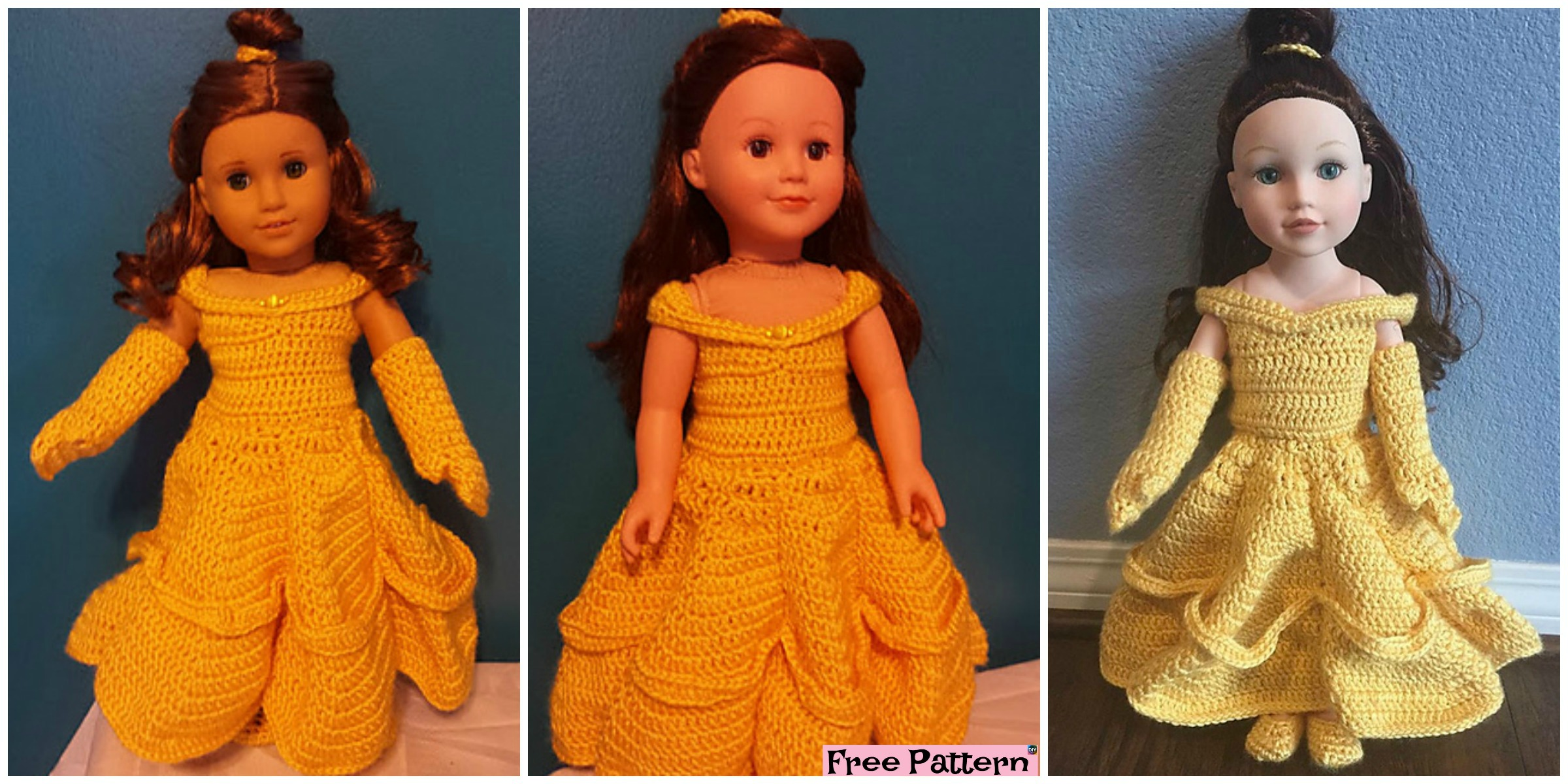 Crochte Belle Doll Ball Gown - Free Pattern - DIY 4 EVER