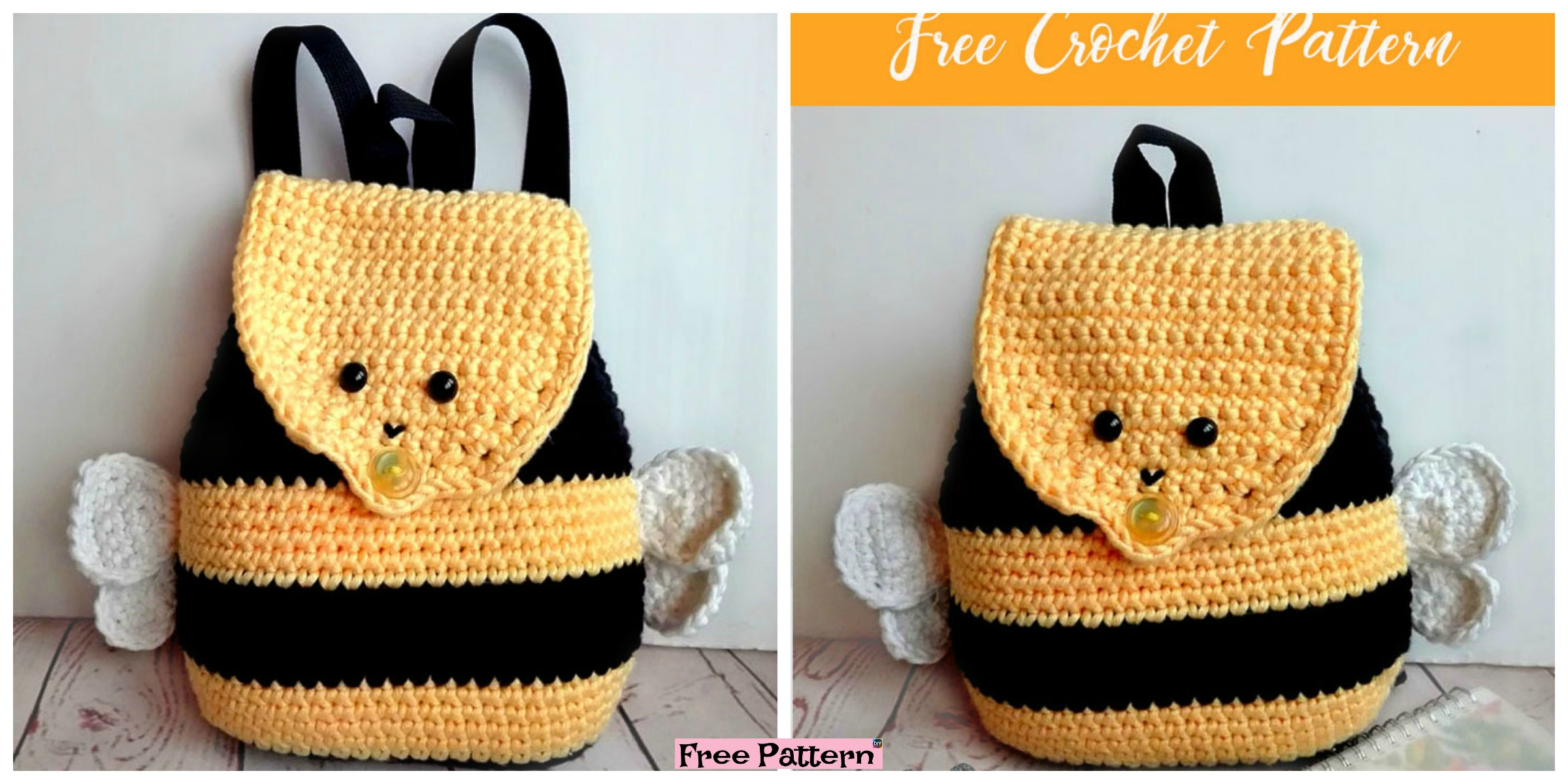 Cute Crochet Bumble Bee Backpack - Free Pattern - DIY 4 EVER