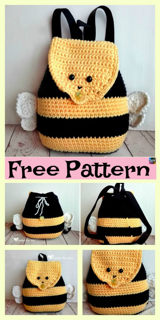 Cute Crochet Bumble Bee Backpack Free Pattern Diy 4 Ever