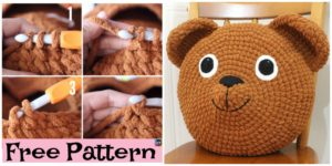 diy4ever-Cute Crochet Teddy Bear Pillow - Free Pattern