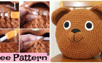 diy4ever-Cute Crochet Teddy Bear Pillow - Free Pattern