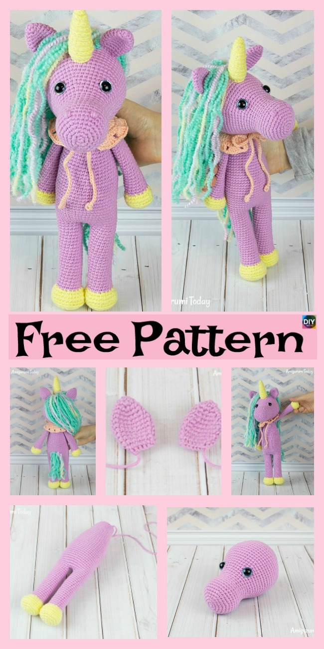 diy4ever-Cute Crochet Unicorn Amigurumi - Free Patterns