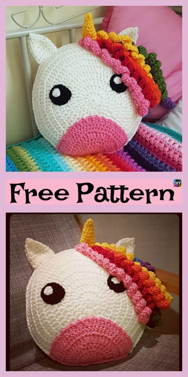 diy4ever-Cute Crochet Unicorn Pillow - Free Patterns P