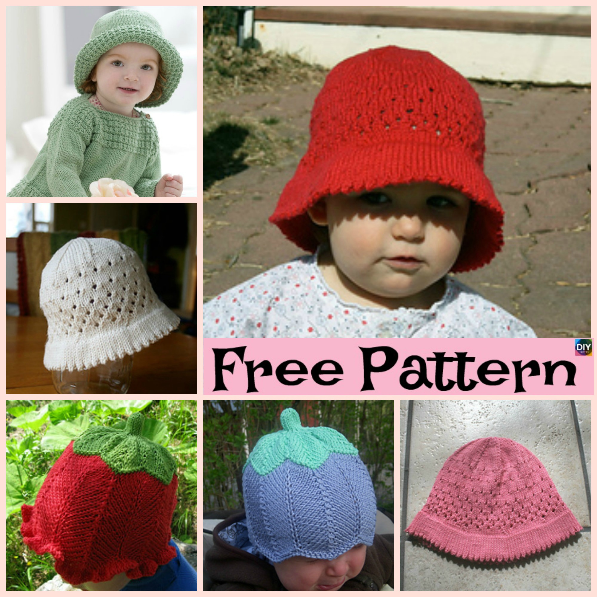 Cute Knitted Baby Sun Hat - Free Patterns - DIY 4 EVER