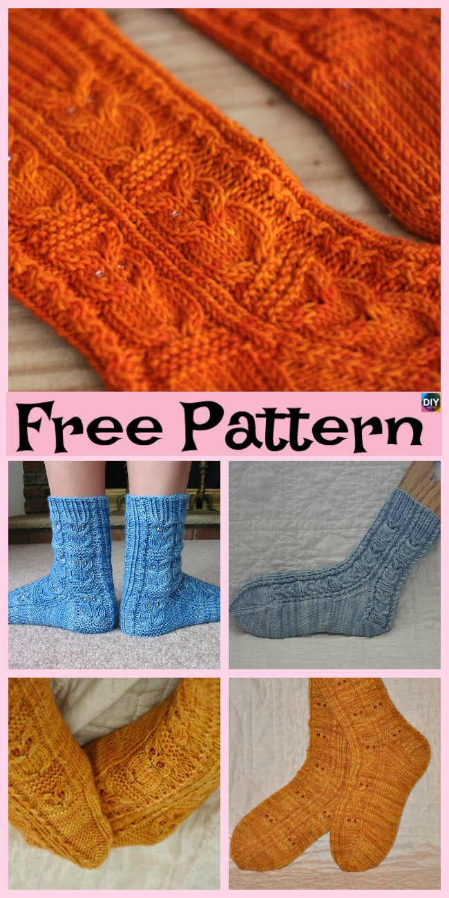 diy4ever- Cute and Unique Knitted Owl Socks - Free Pattern