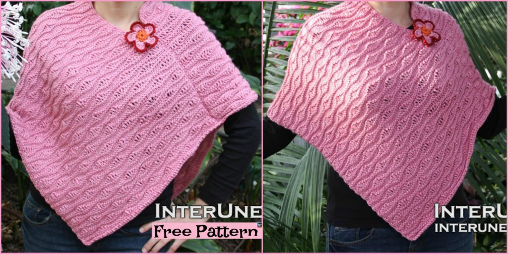 Knit Ocean Waves Stitch Poncho Free Pattern Diy 4 Ever