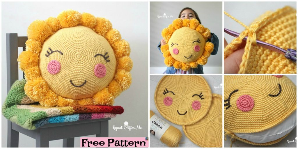 618027444dee2 PomPom Crocheted Sunshine Pillow - Free Pattern - DIY 4 EVER