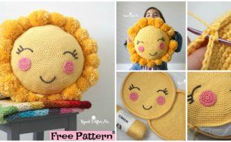 diy4ever- PomPom Crocheted Sunshine Pillow - Free Pattern