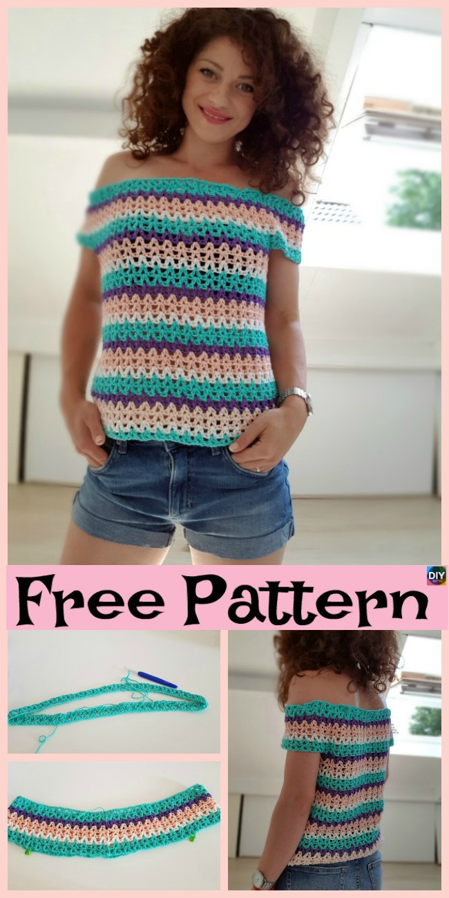 diy4ever-Pretty Crochet Summer Blouse - Free Pattern