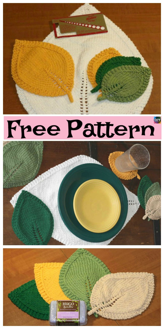 diy4ever-Pretty Knitted Leaf In Three Sizes - Free Pattern