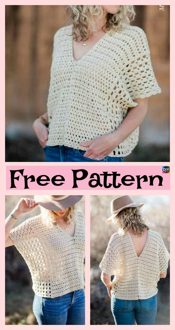 diy4ever-Stylish Crochet Summer Top - Free Patterns