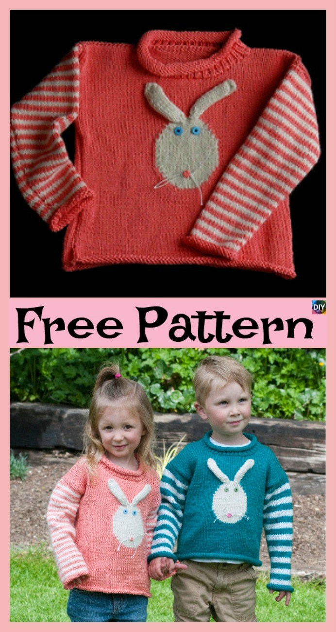 diy4ever-Super Cute Knit Bunny Pullover - Free Patterns