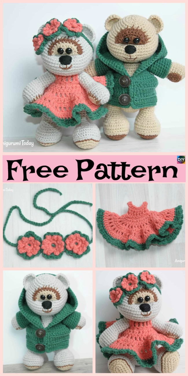 diy4ever- Sweet Crochet Teddy Bear - Free Patterns