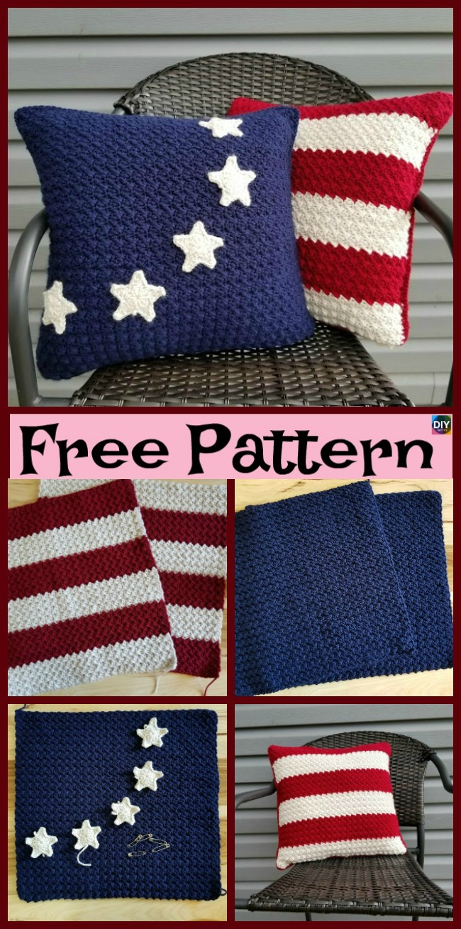 diy4ever-Unique Crochet Americana Pillow - Free Patterns