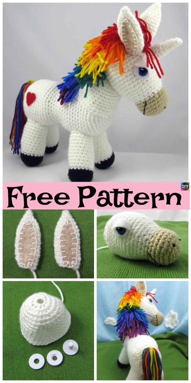 Crochet Rainbow Donkey - Free Pattern