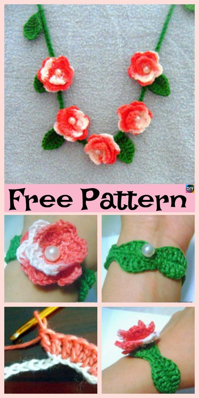 Crochet Rose Jewelry - Free Pattern