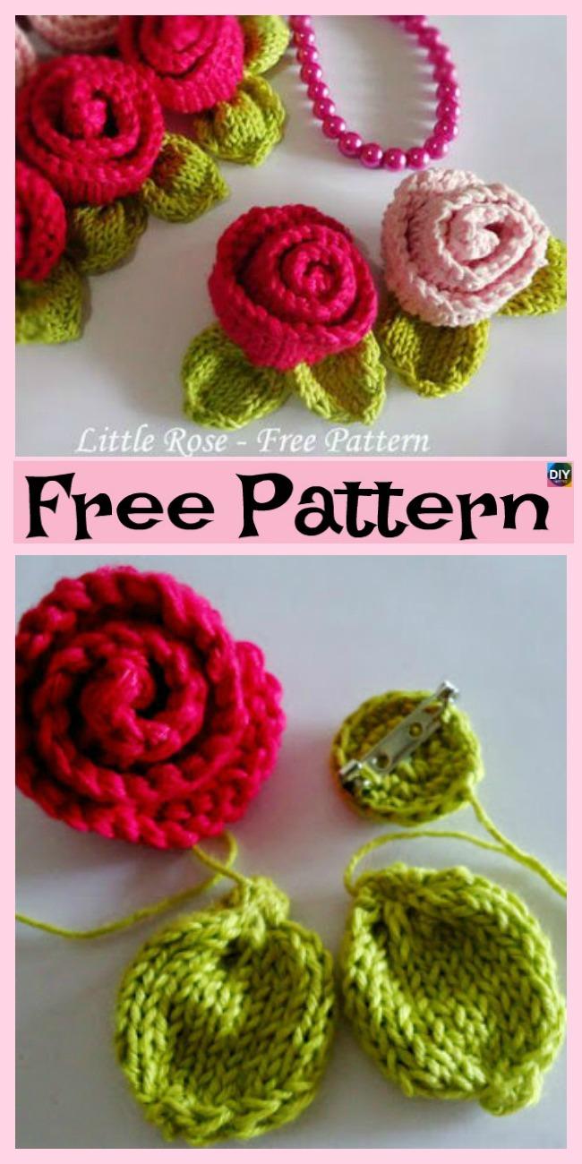 DIY4EVER- Knit Little Rose Flower for Beginner - Free Patterns